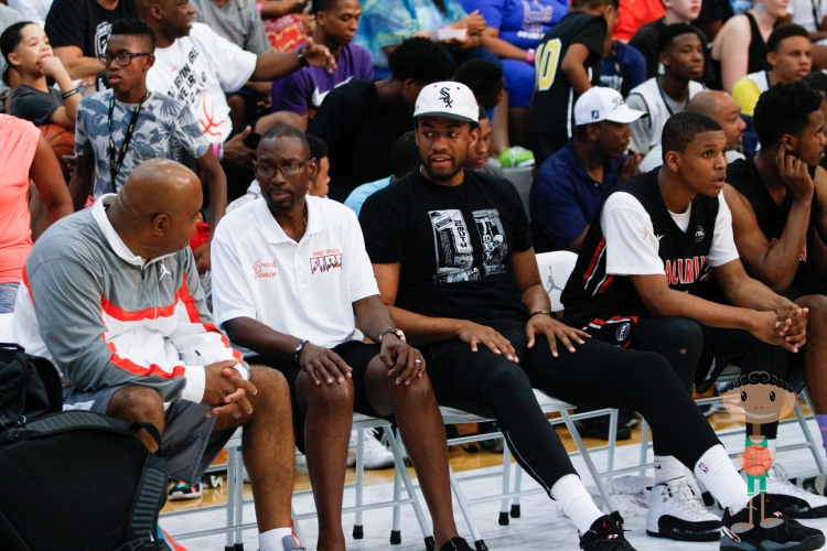 NBA Player Jabari Parker helps Mac Irvin Fire with some bench support during Bigfoothoops tourney in Las Vegas.  -Image by PopScout
