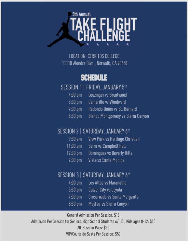 take flight challenge schedule
