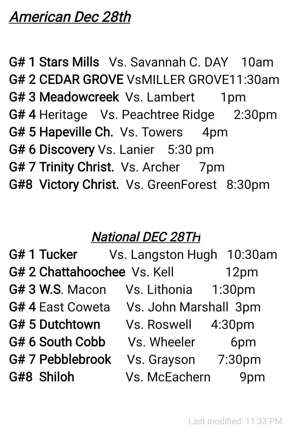 TOC 2nd day schedule